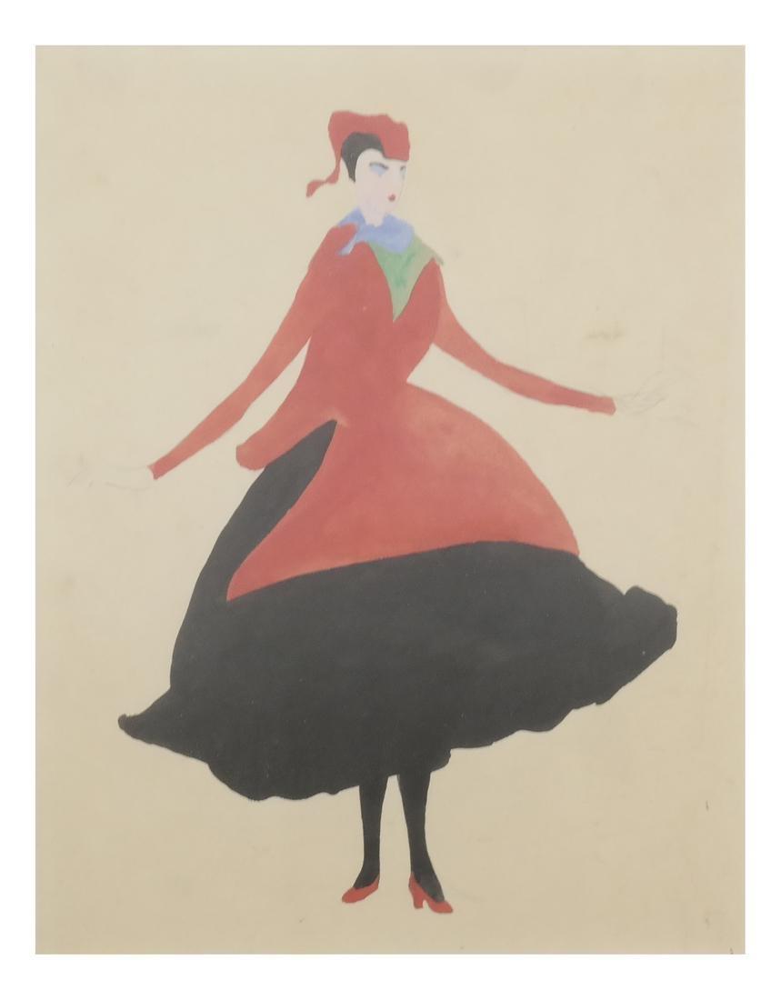 Konrad Cramer - Woman in Black and Red - Watercolor