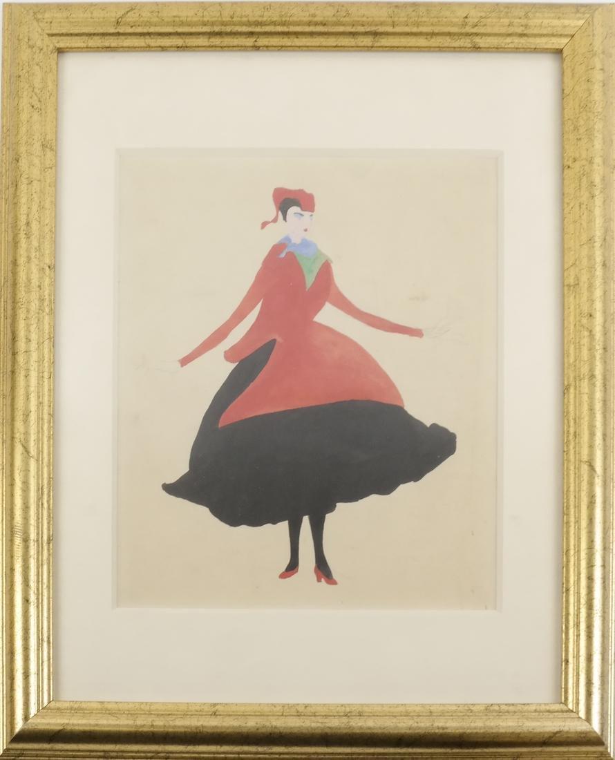 Konrad Cramer - Woman in Black and Red - Watercolor - 2