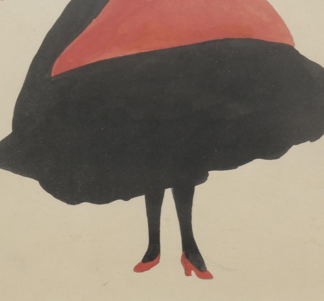 Konrad Cramer - Woman in Black and Red - Watercolor - 3