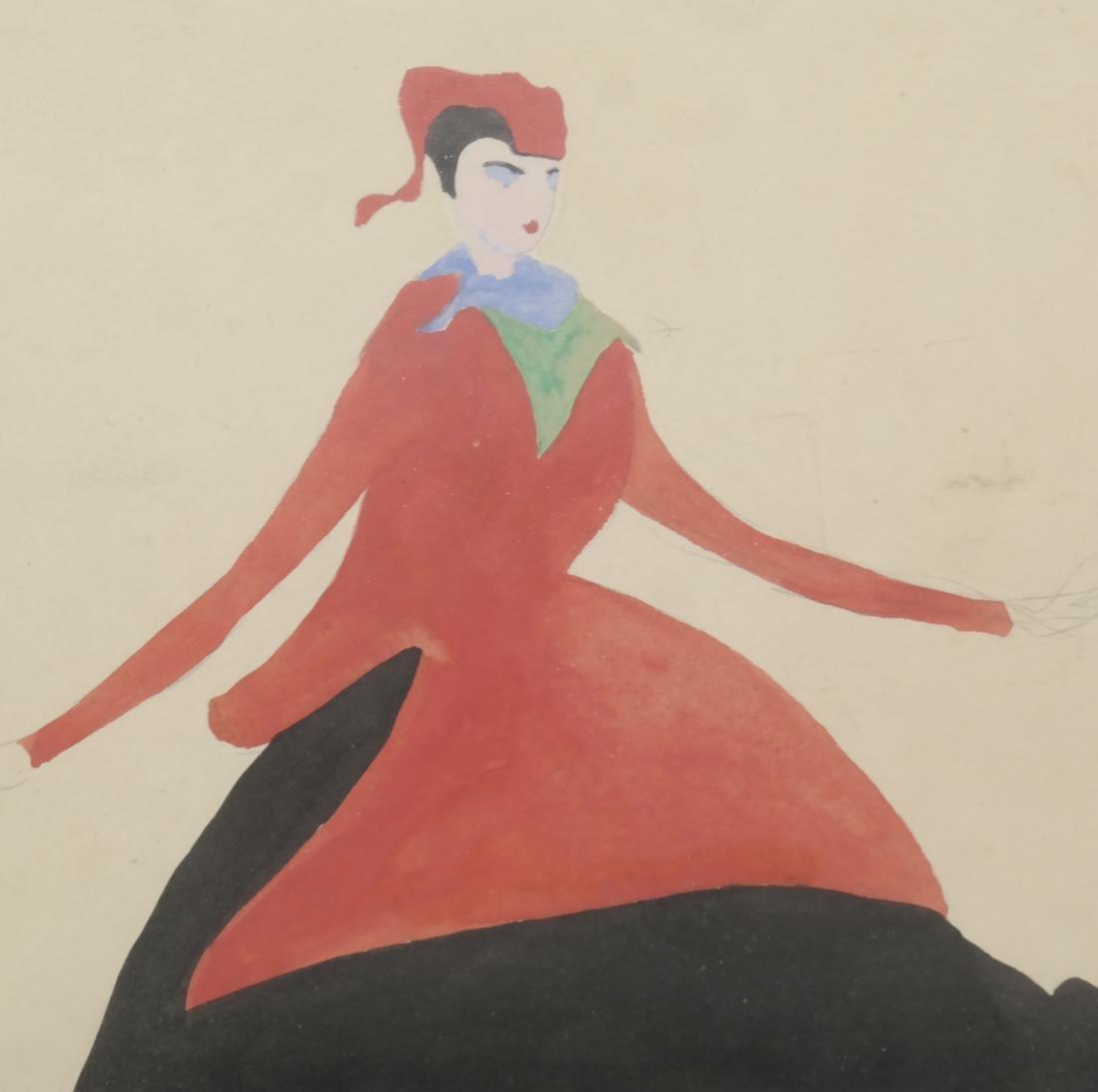 Konrad Cramer - Woman in Black and Red - Watercolor - 4