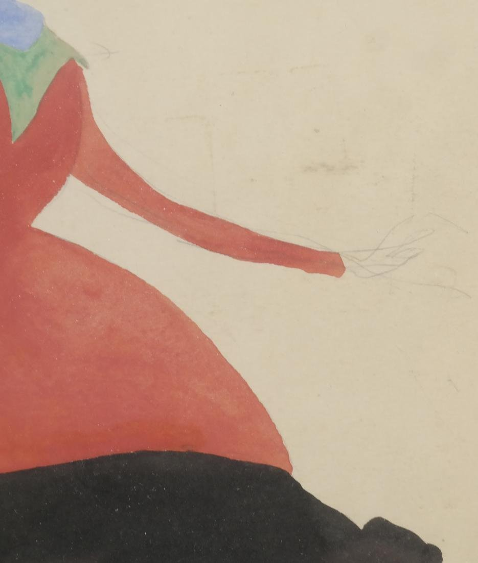 Konrad Cramer - Woman in Black and Red - Watercolor - 5