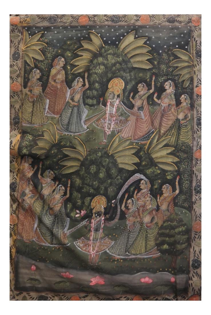 Antique Indian Painted Silk