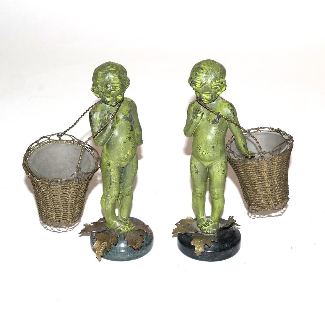 Pair of Verde Green Cupid Bronzes