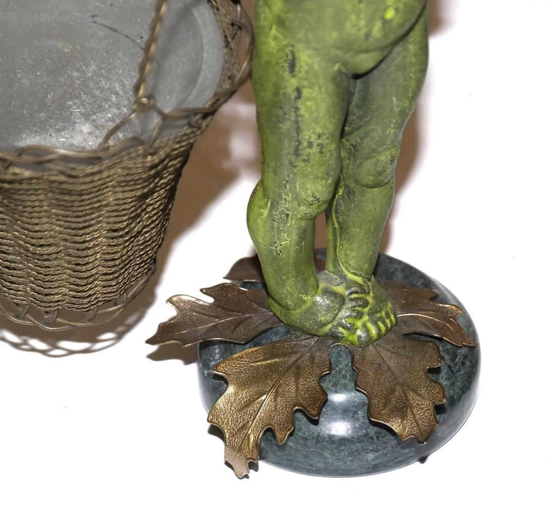 Pair of Verde Green Cupid Bronzes - 2