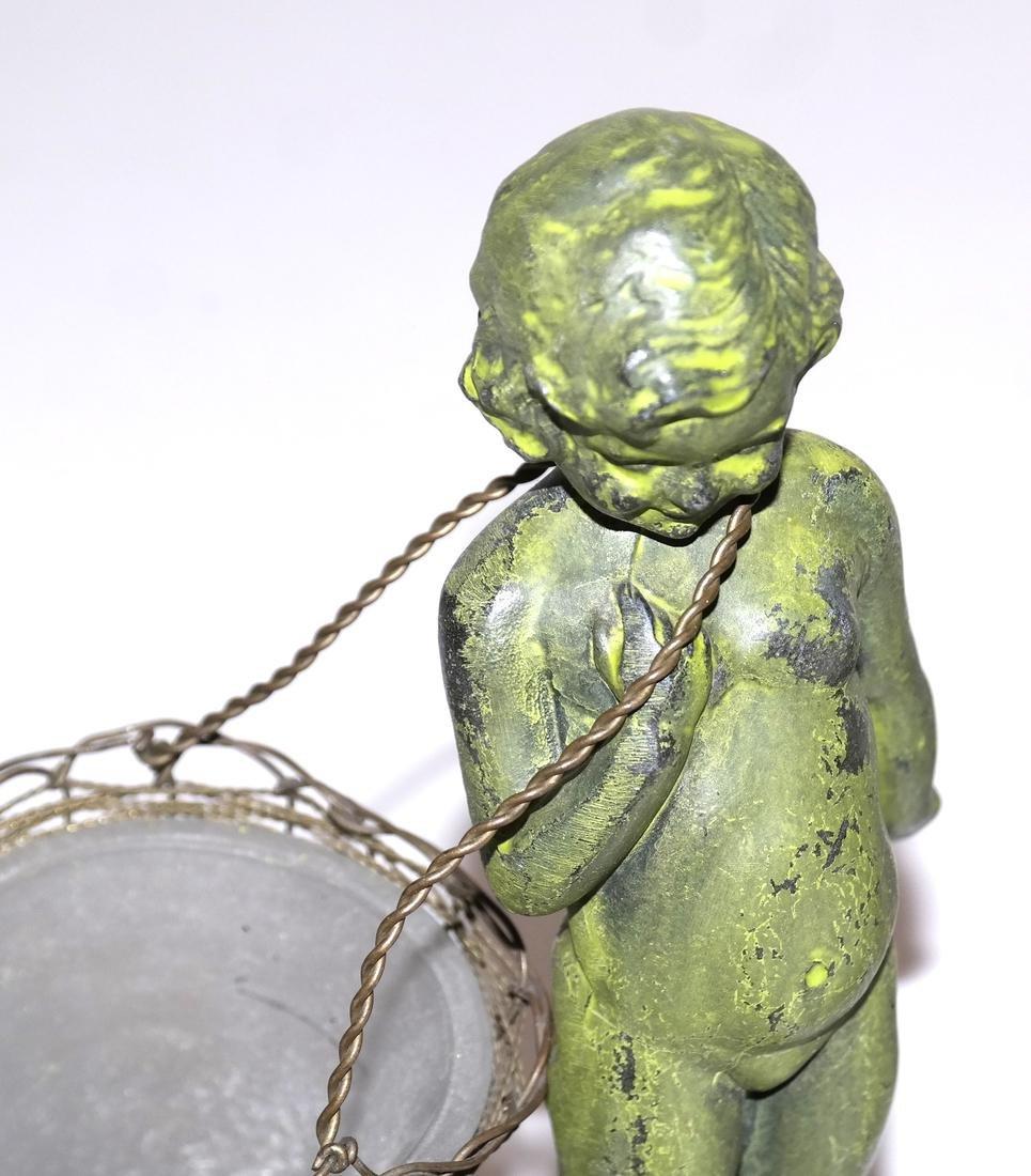 Pair of Verde Green Cupid Bronzes - 3