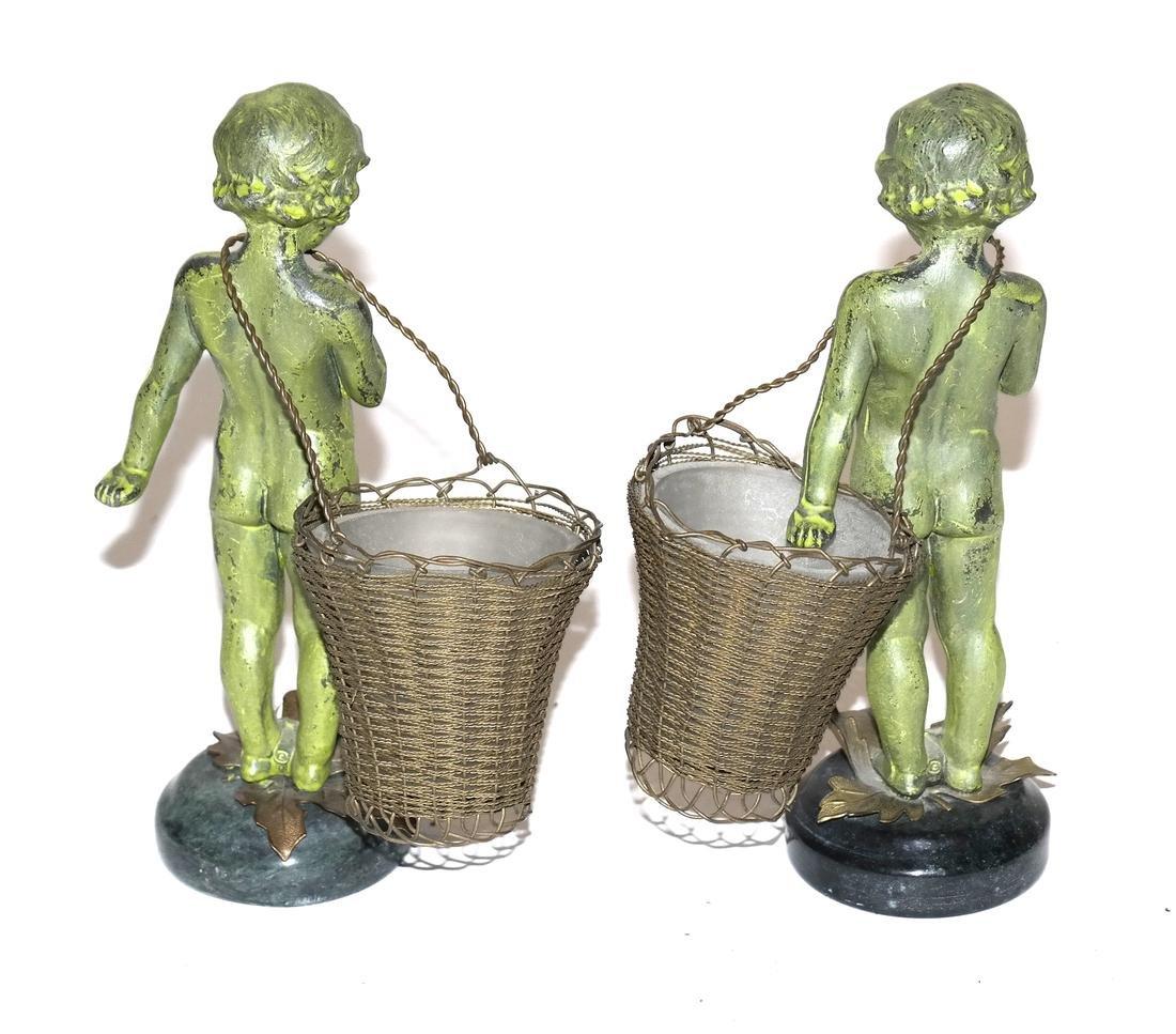 Pair of Verde Green Cupid Bronzes - 4