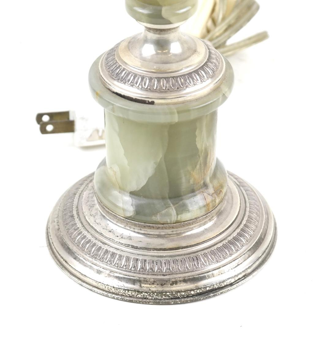 Onyx and Silver Plate Lamp - 2
