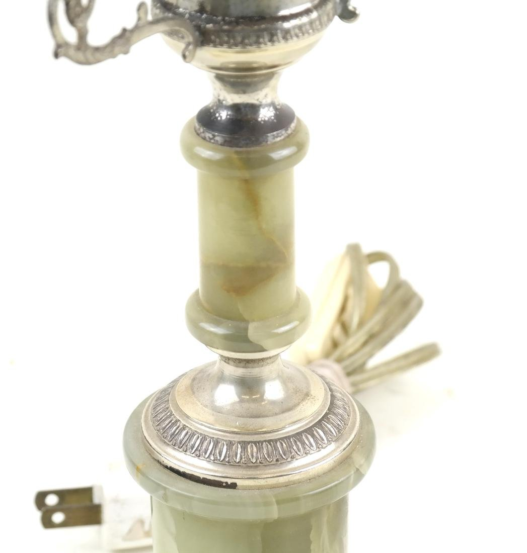 Onyx and Silver Plate Lamp - 3