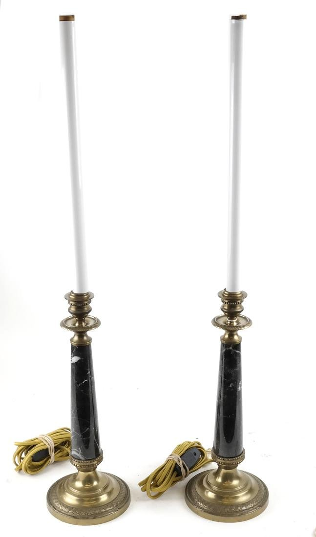 Pair Bronze and Marble Candlestick Lamps