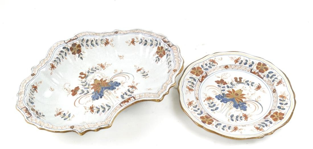 Two Majolica Pieces, a Dish and Serving Bowl