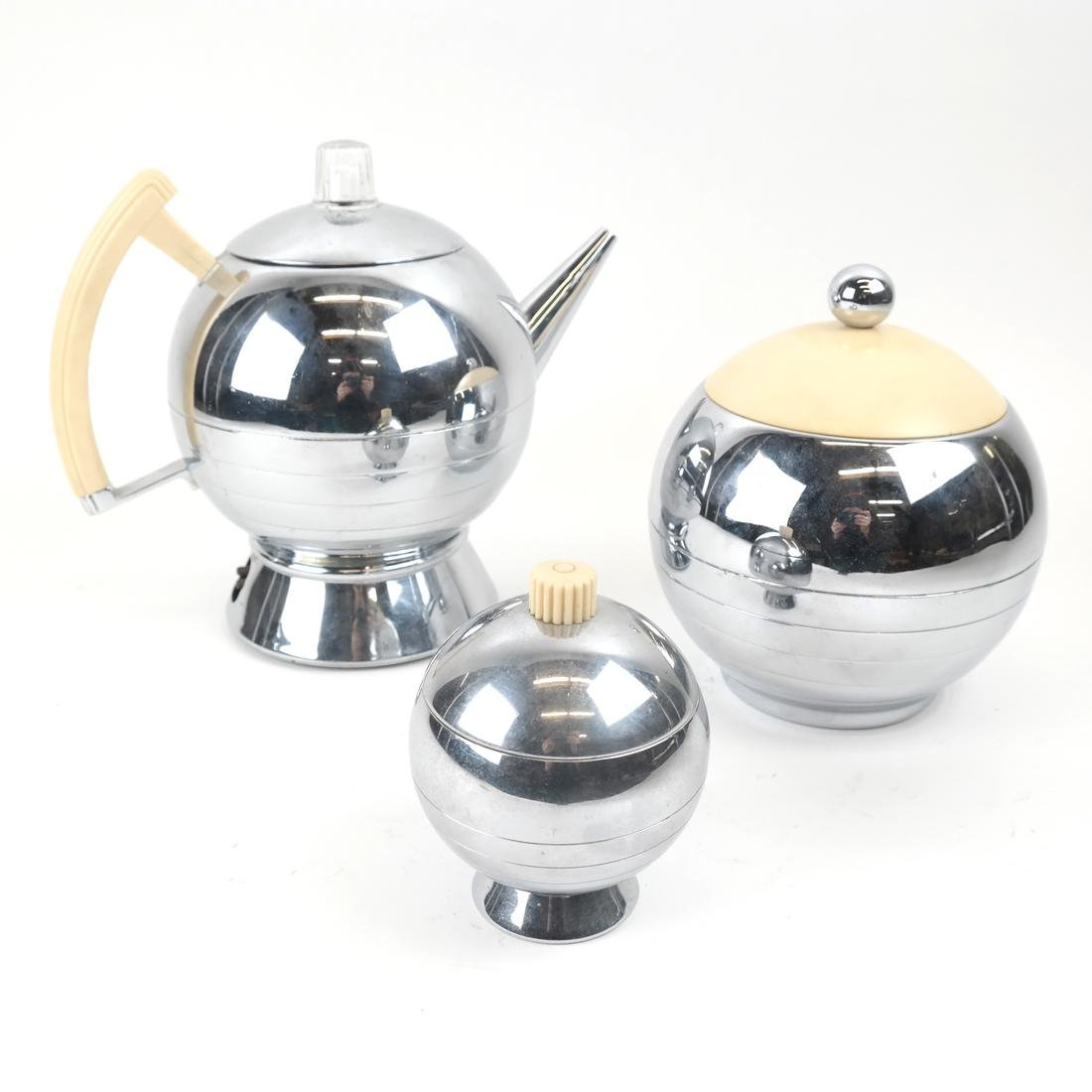 Three Piece Bakelite and Chrome Tea Set by Chase