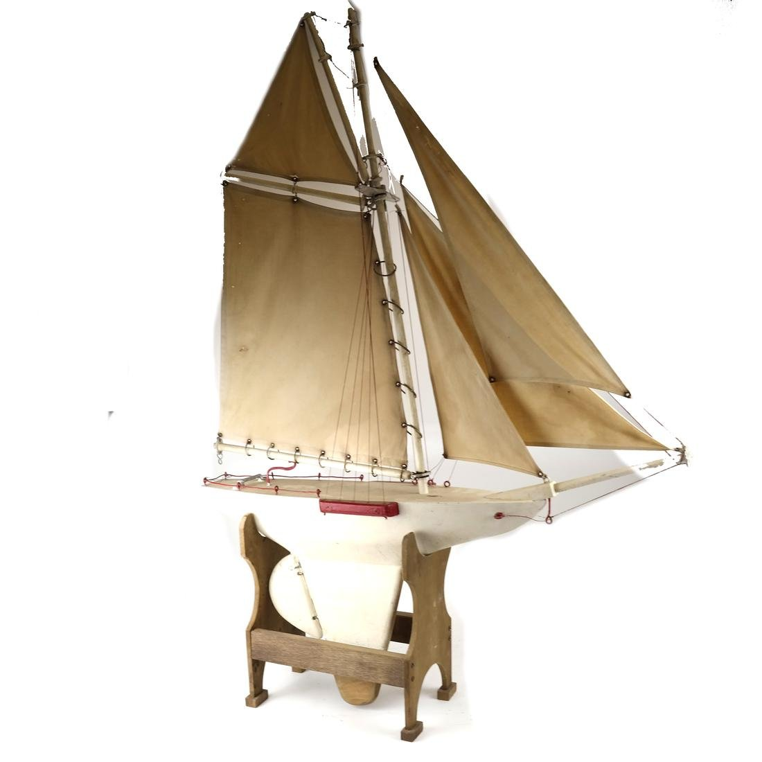 Wood Model Sailboat With Canvas Sails