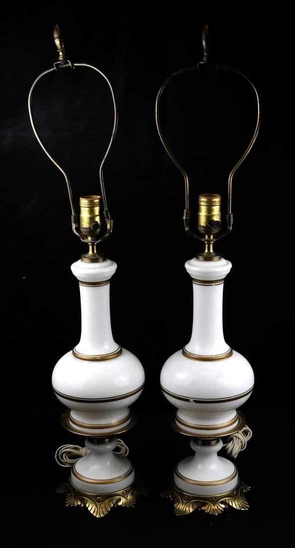 Pair of White Porcelain Lamps
