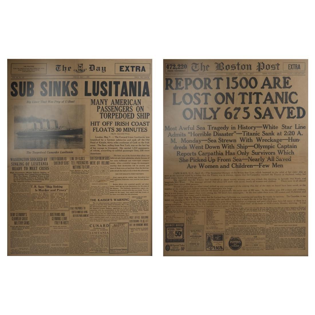 Titanic and Lusitania Broadsheets, Lot of 2