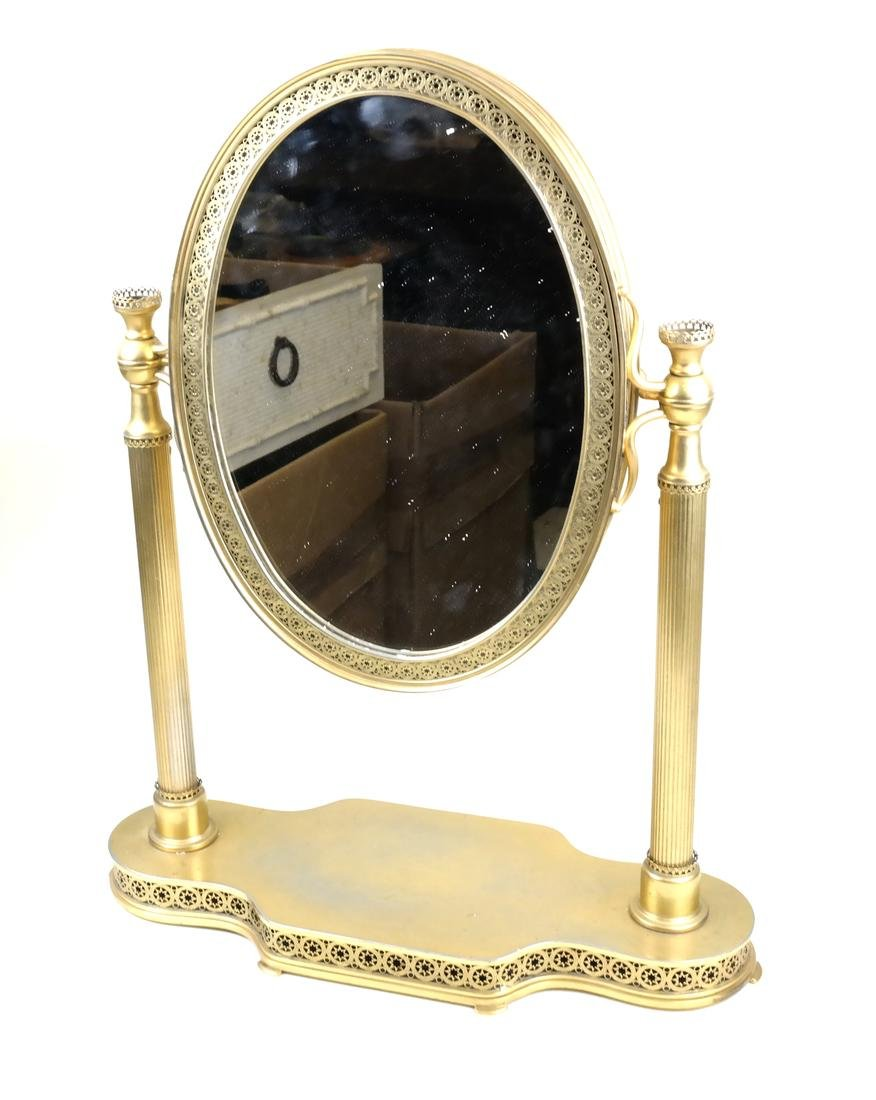 French Bronze Dore Triptych Vanity Mirror