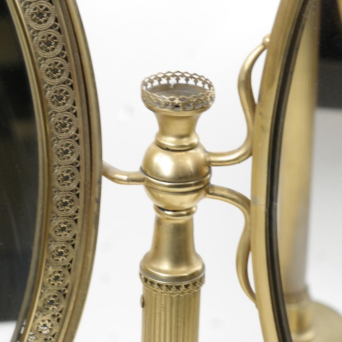 French Bronze Dore Triptych Vanity Mirror - 2