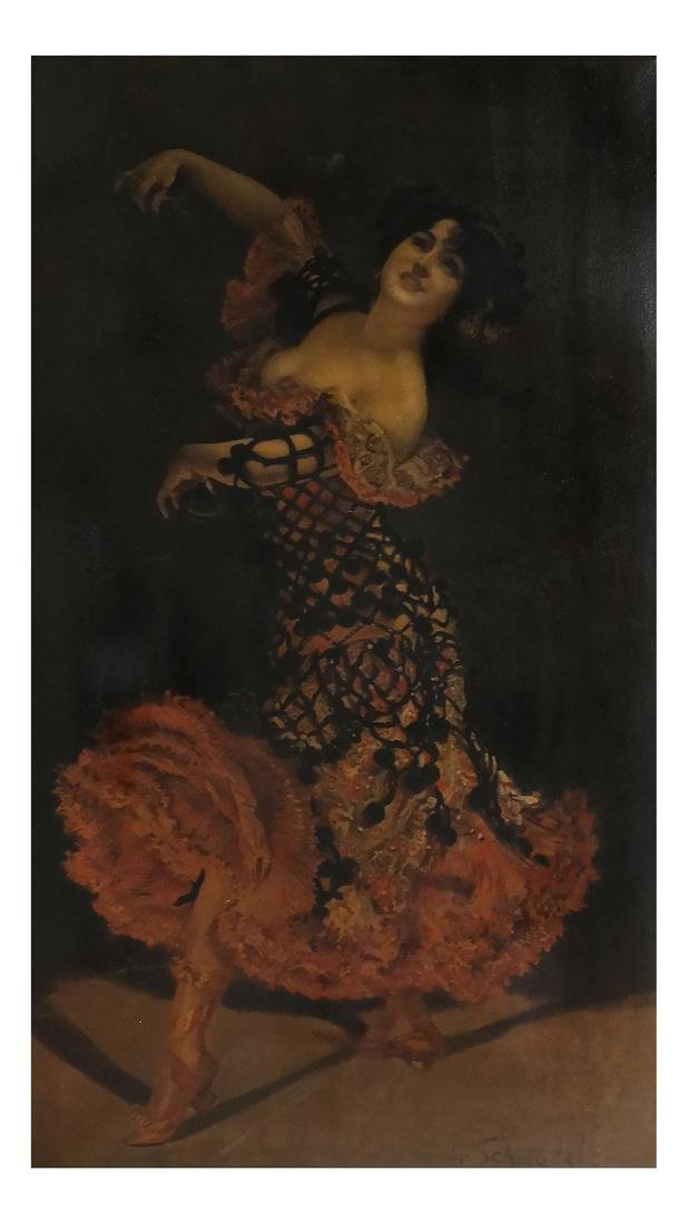 Leopold Schmutzler, Flamenco Dancer - Print on Canvas