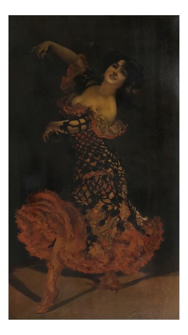 Leopold Schmutzler, Flamenco Dancer - Print on Canvas