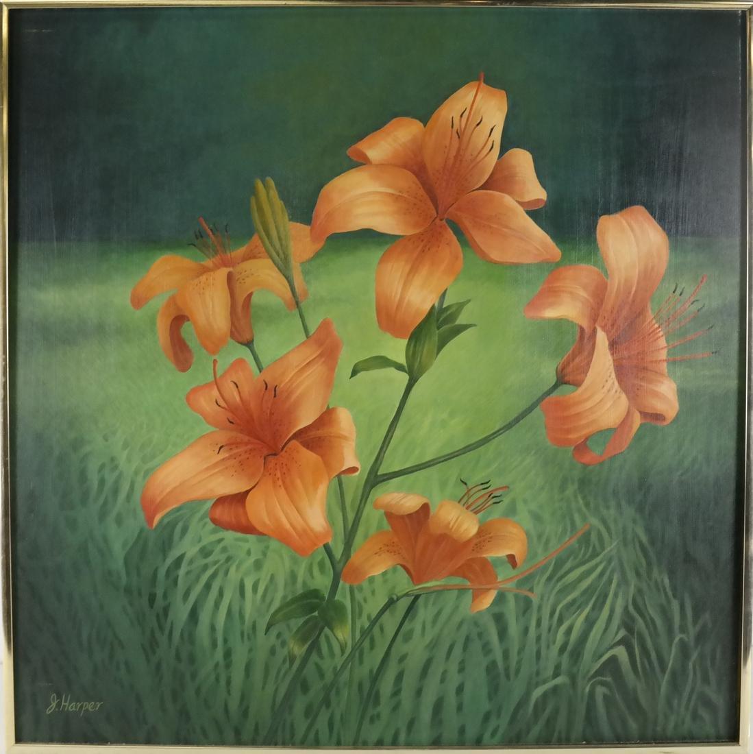 Judith Harper, Acrylic on Board - Flowers - 2
