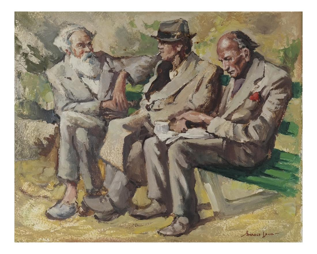 Three Seated Men - Oil on Canvas ('A Lanset' (?))