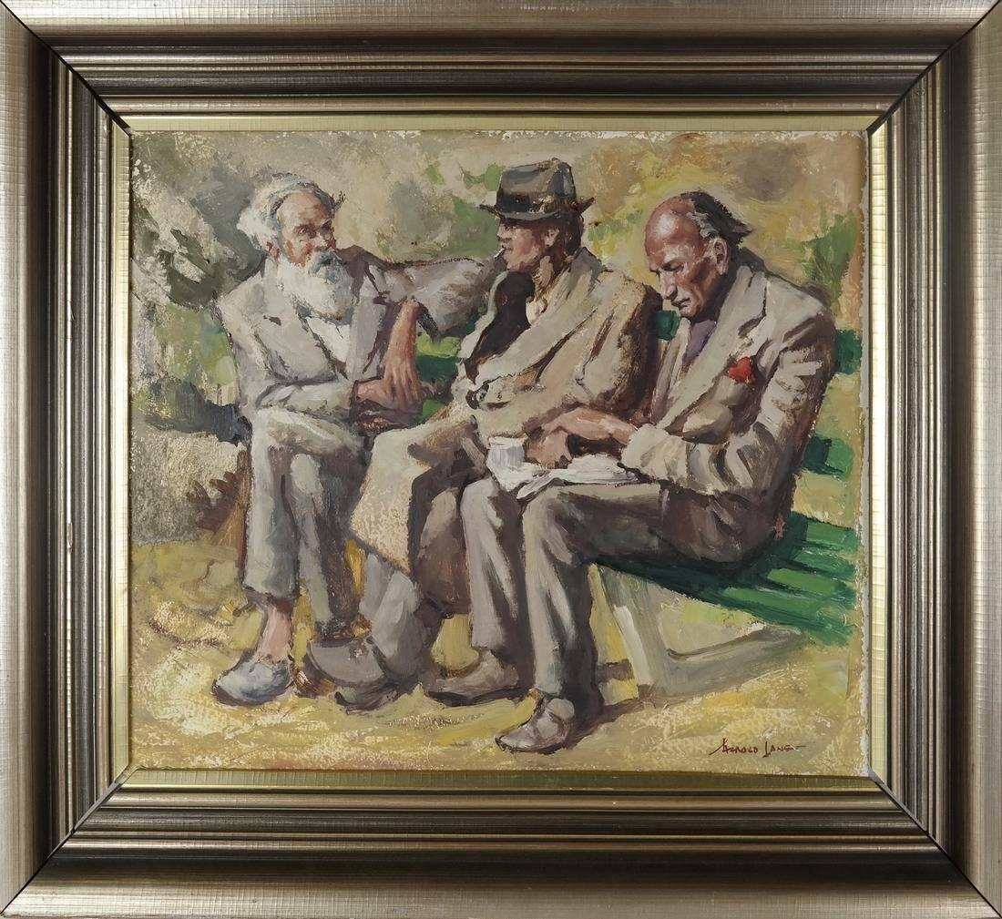 Three Seated Men - Oil on Canvas ('A Lanset' (?)) - 2