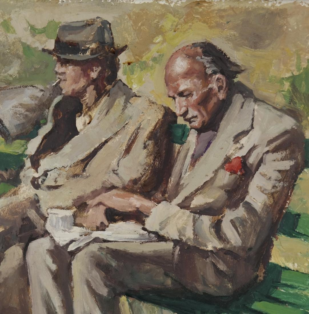 Three Seated Men - Oil on Canvas ('A Lanset' (?)) - 4