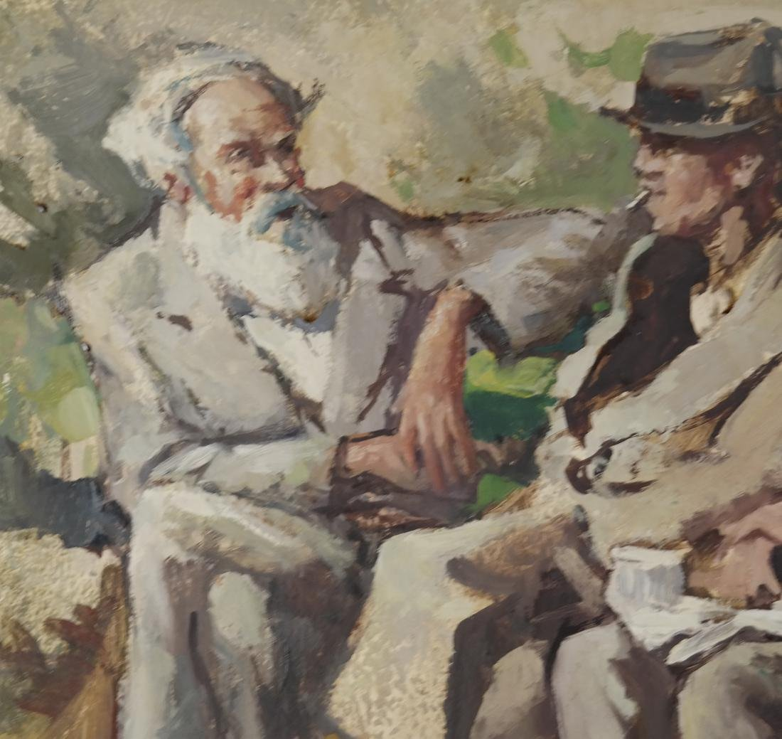 Three Seated Men - Oil on Canvas ('A Lanset' (?)) - 5