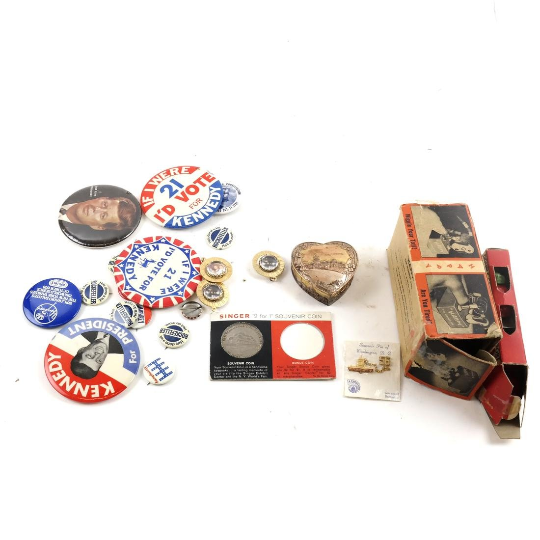 Political Pins and Memorabilia - Kennedy and Nixon