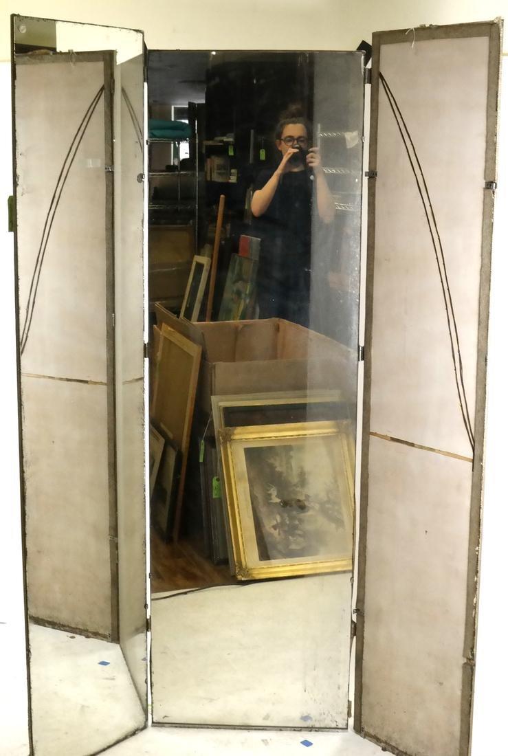 20th Century Modern Mirrored 3-Fold Floor Screen