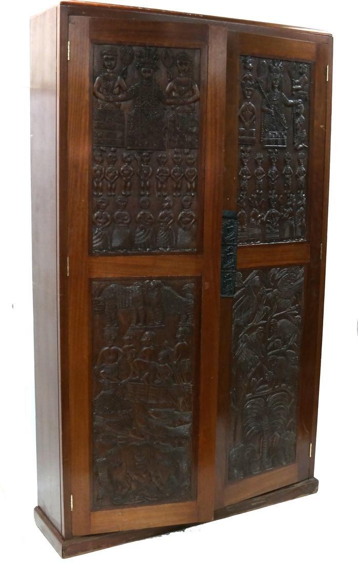 Ethnic Decorated Raised Figural Cabinet