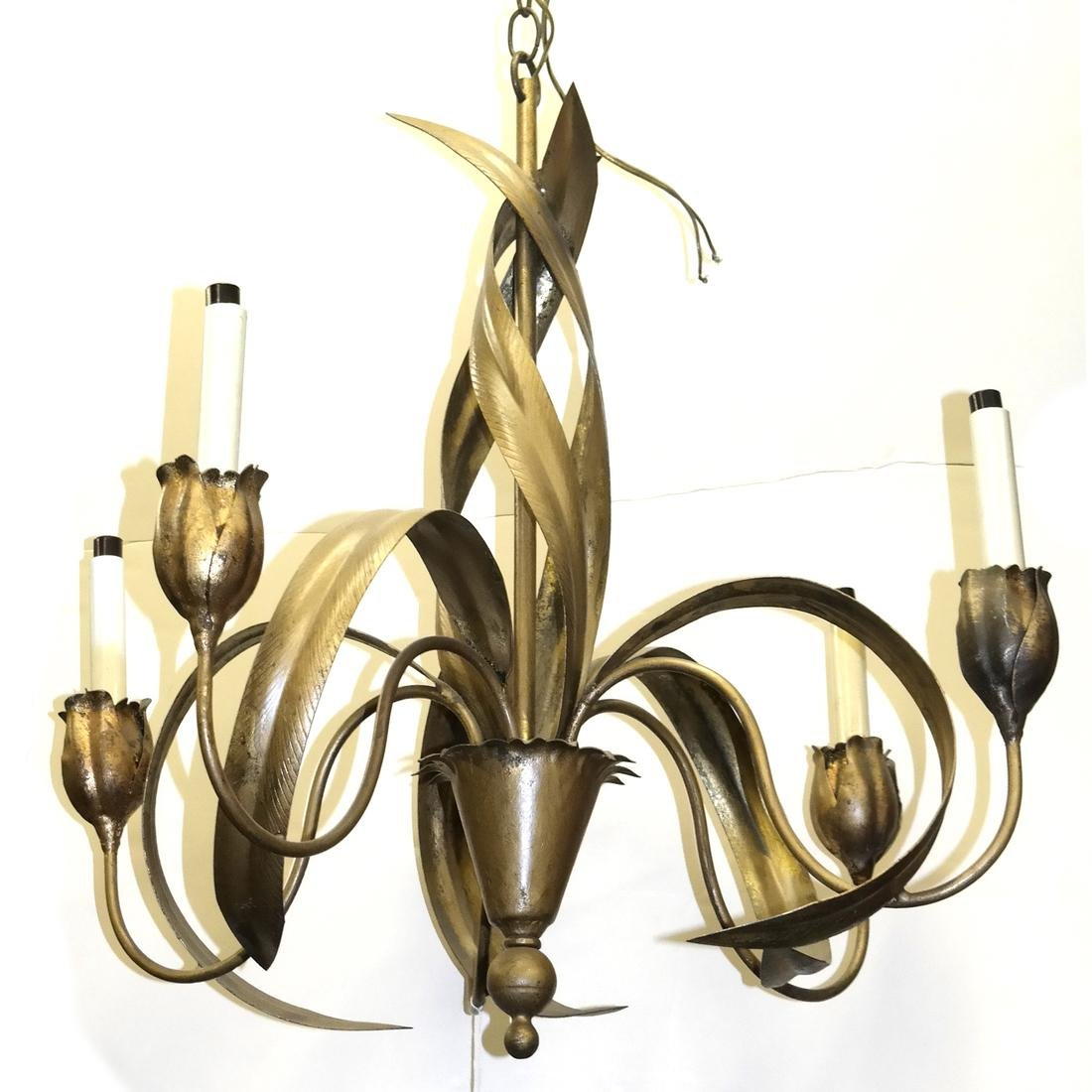Tole Leaf Tulip-Form Chandelier