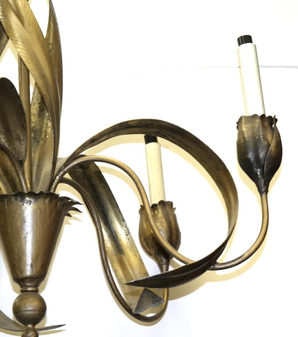 Tole Leaf Tulip-Form Chandelier - 2