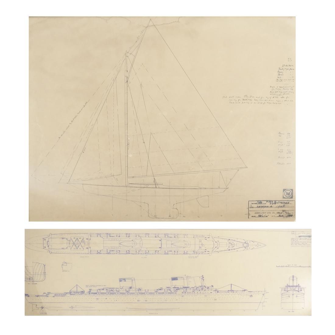 Two Framed Ship Plans Prints