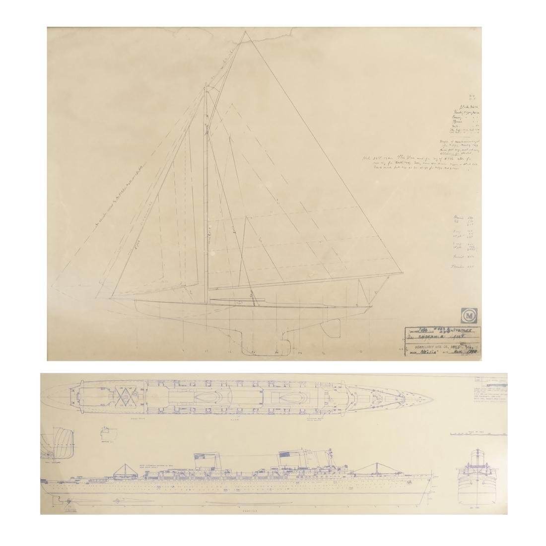 Two Framed Ship Plans Prints