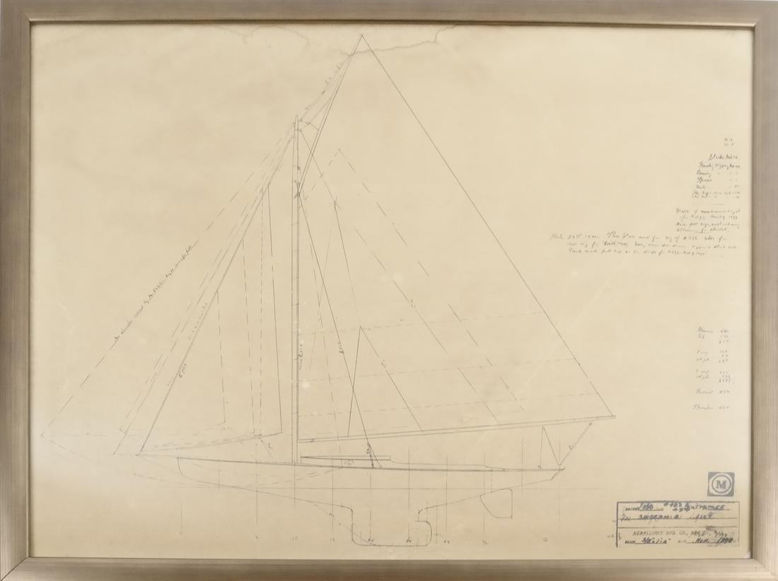 Two Framed Ship Plans Prints - 2