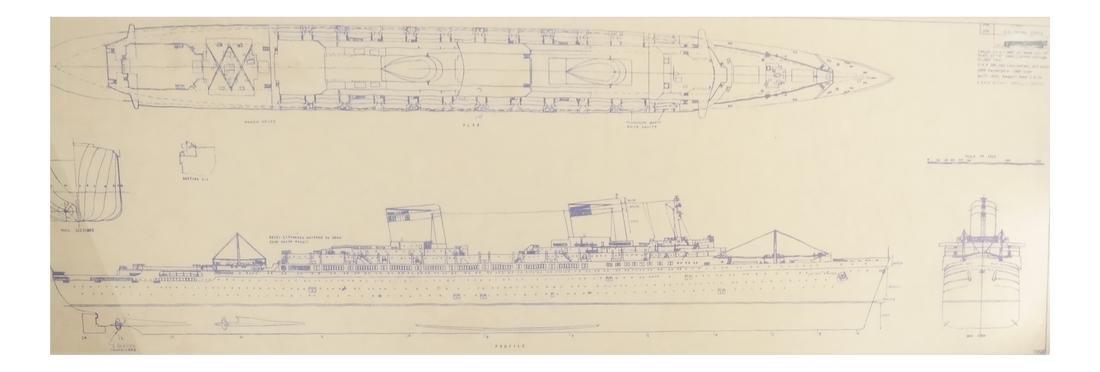 Two Framed Ship Plans Prints - 4