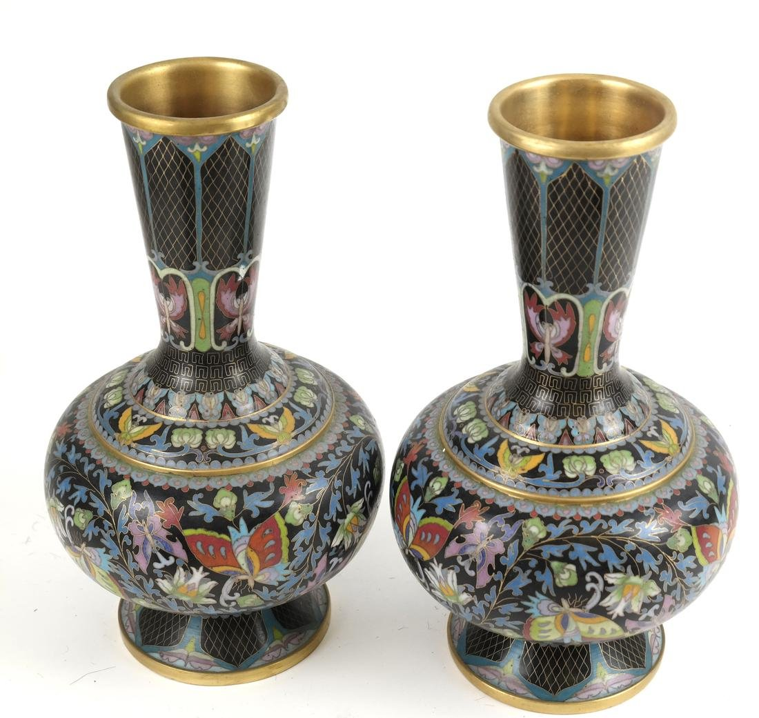 Three Pairs of Cloisonne Decorated Vases - 2