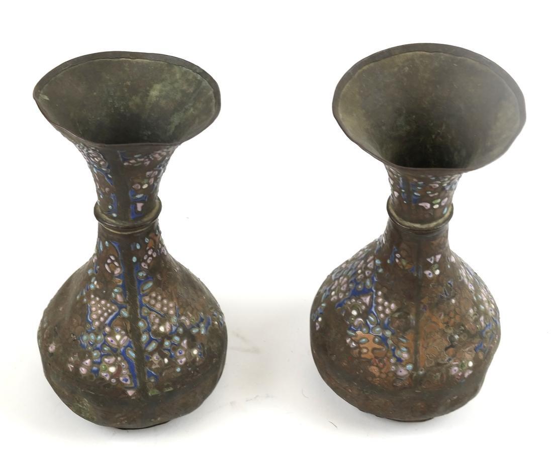 Three Pairs of Cloisonne Decorated Vases - 4