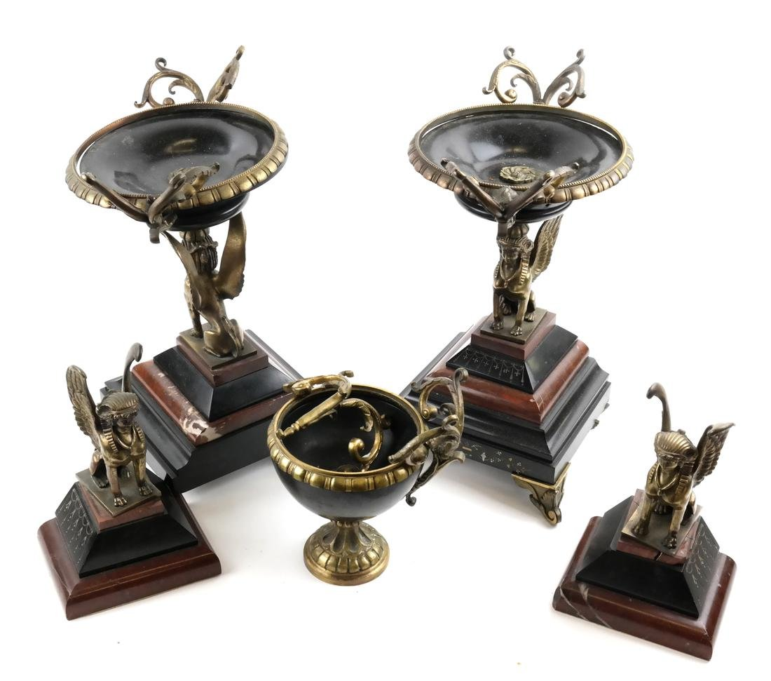 Egyptian Revival Compotes and Bookends