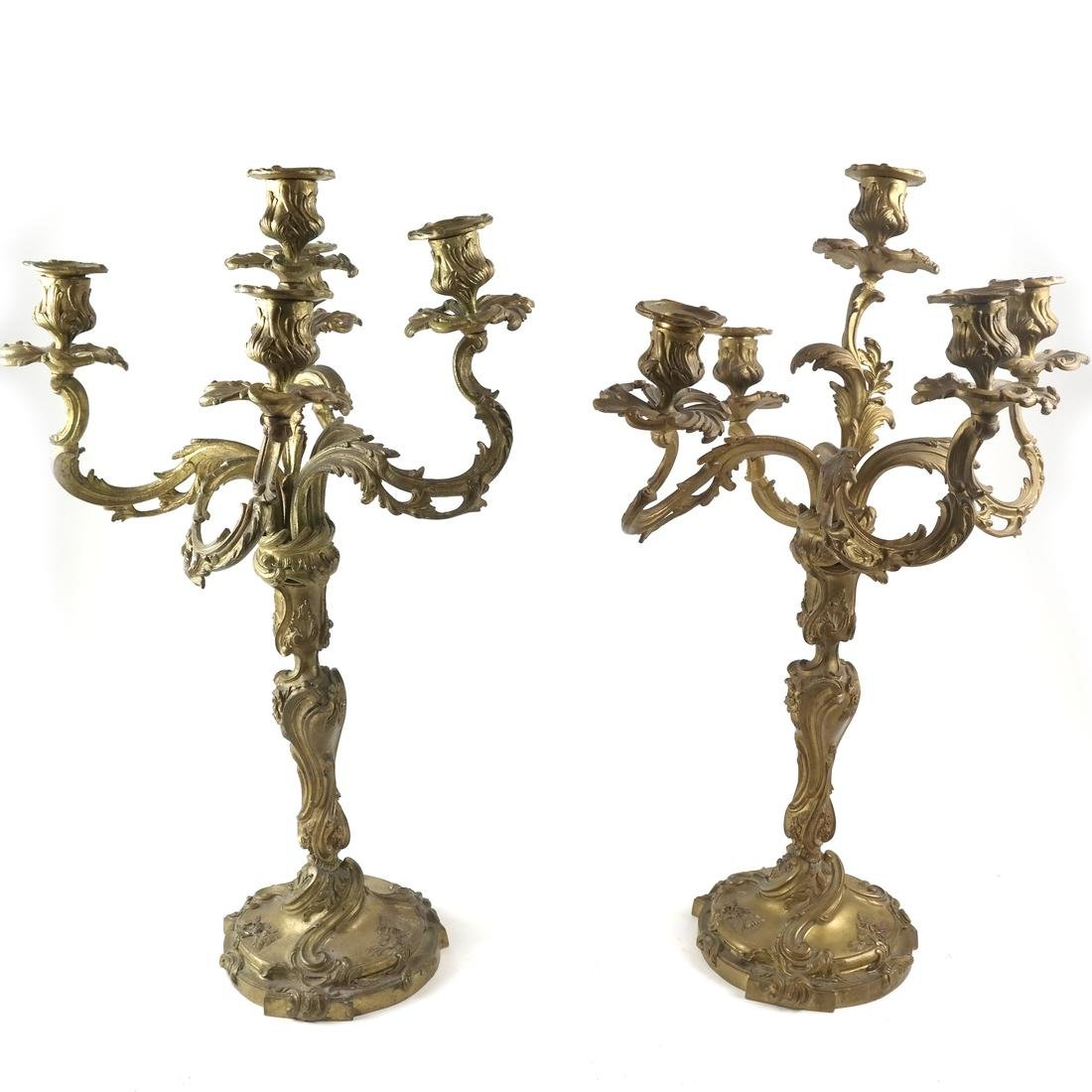 Pair of French Bronze Candelabra