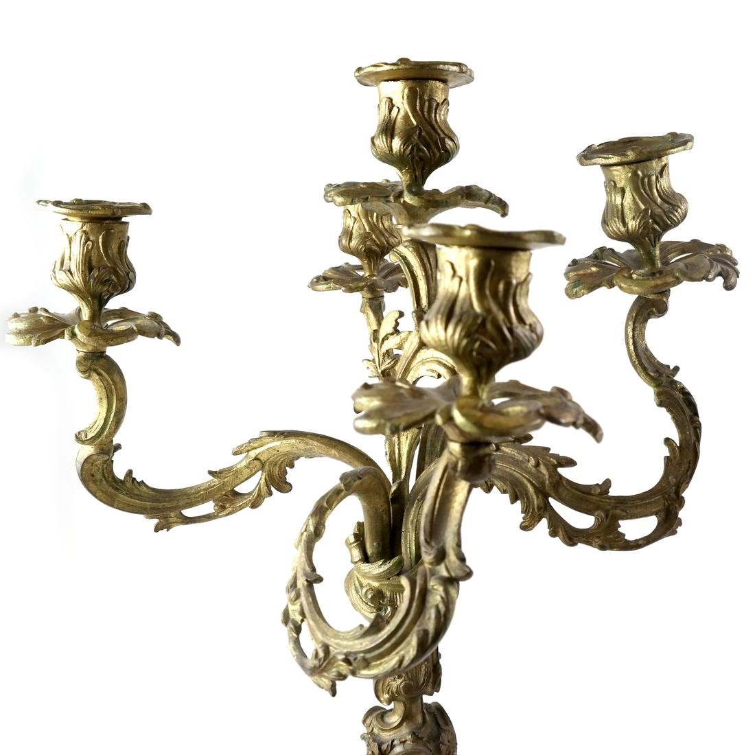 Pair of French Bronze Candelabra - 2