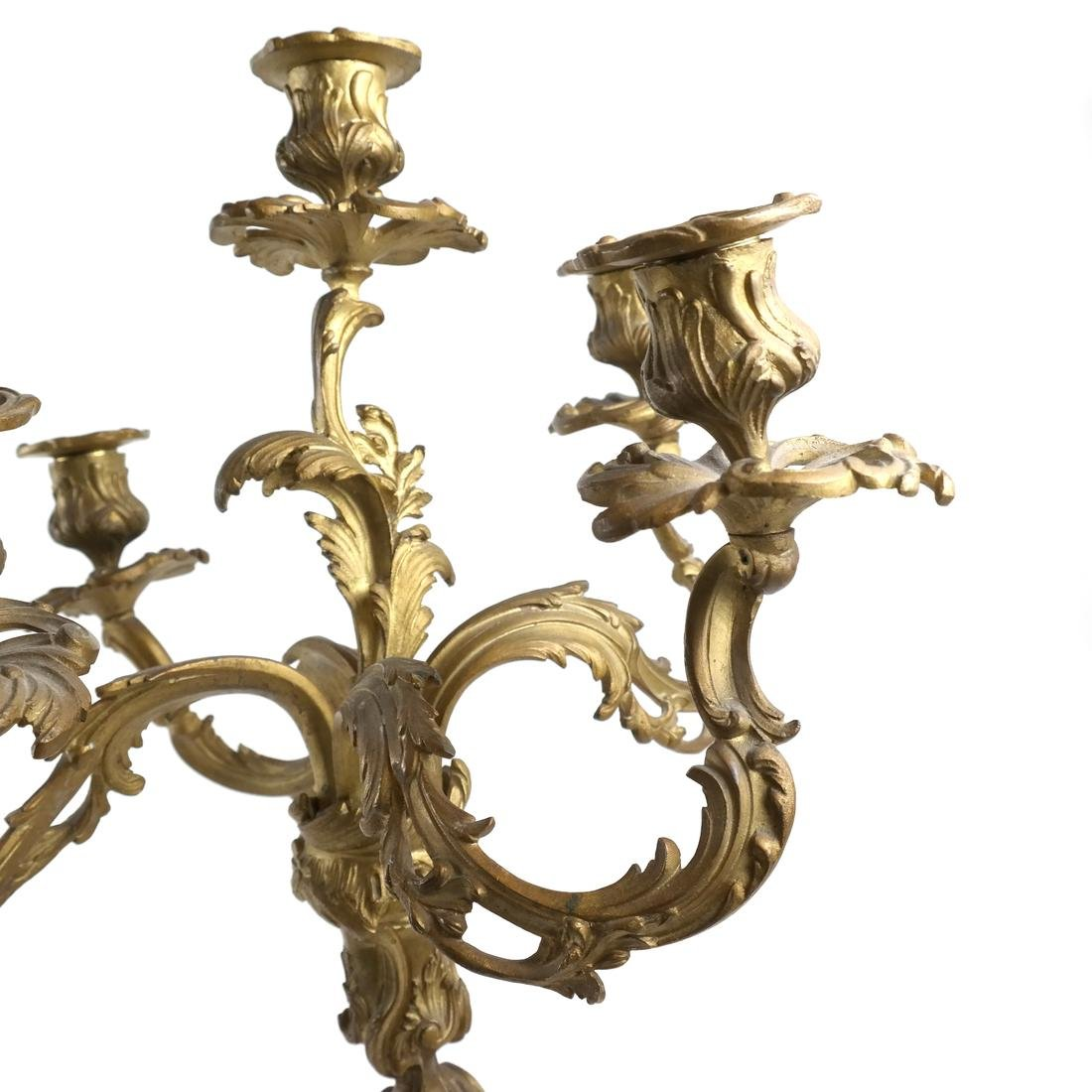 Pair of French Bronze Candelabra - 6