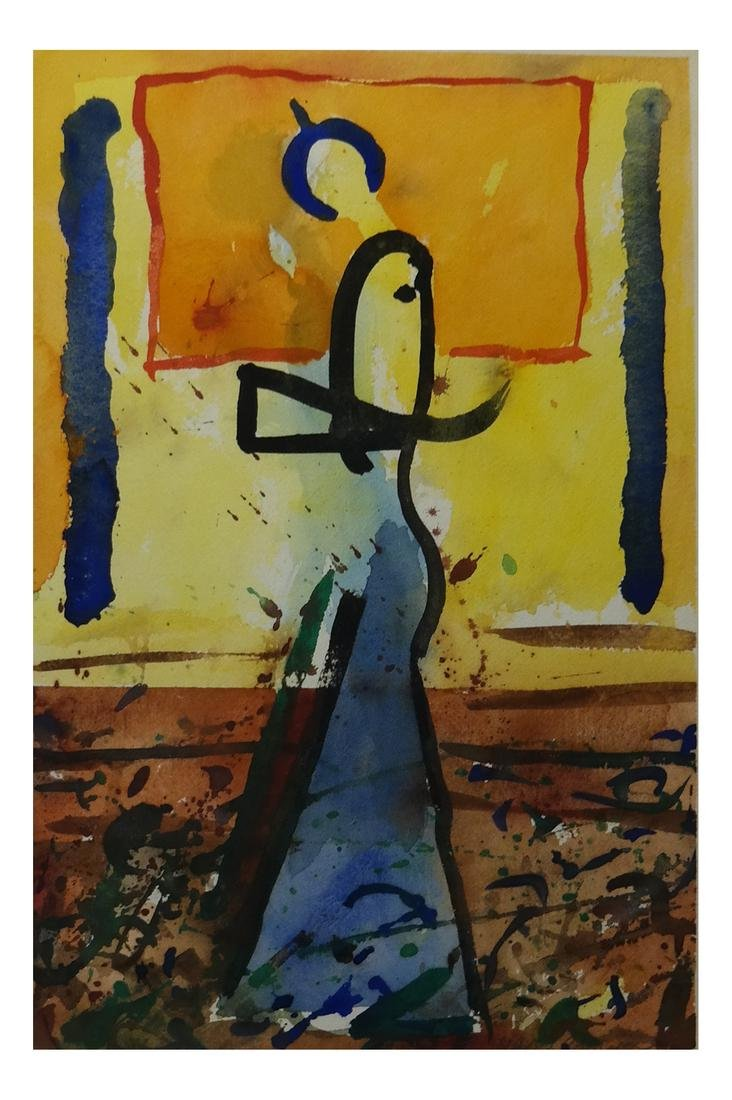 Abstract Figural Watercolor, Signed