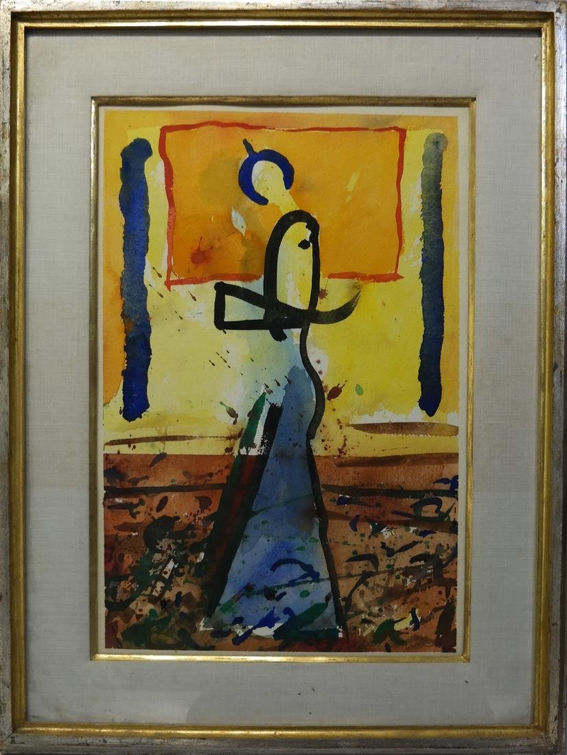 Abstract Figural Watercolor, Signed - 2