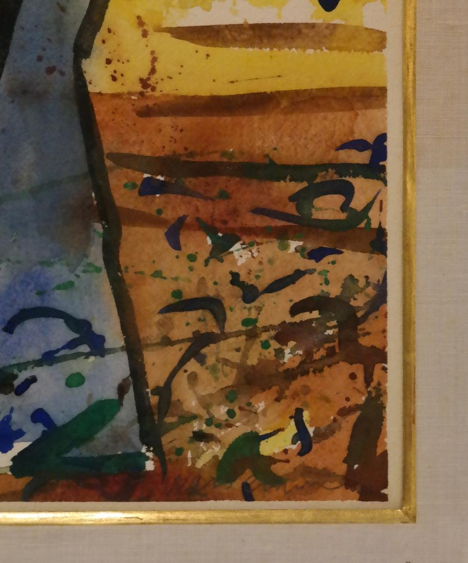 Abstract Figural Watercolor, Signed - 3
