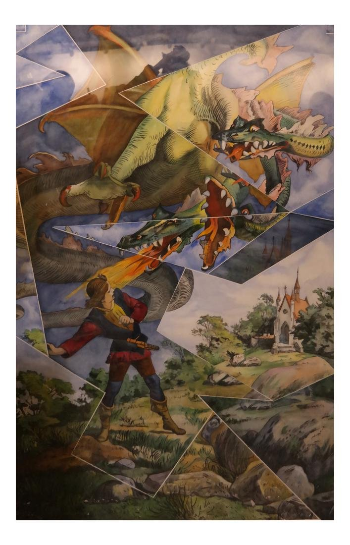 The Dragon Slayer- Watercolor, Unsigned