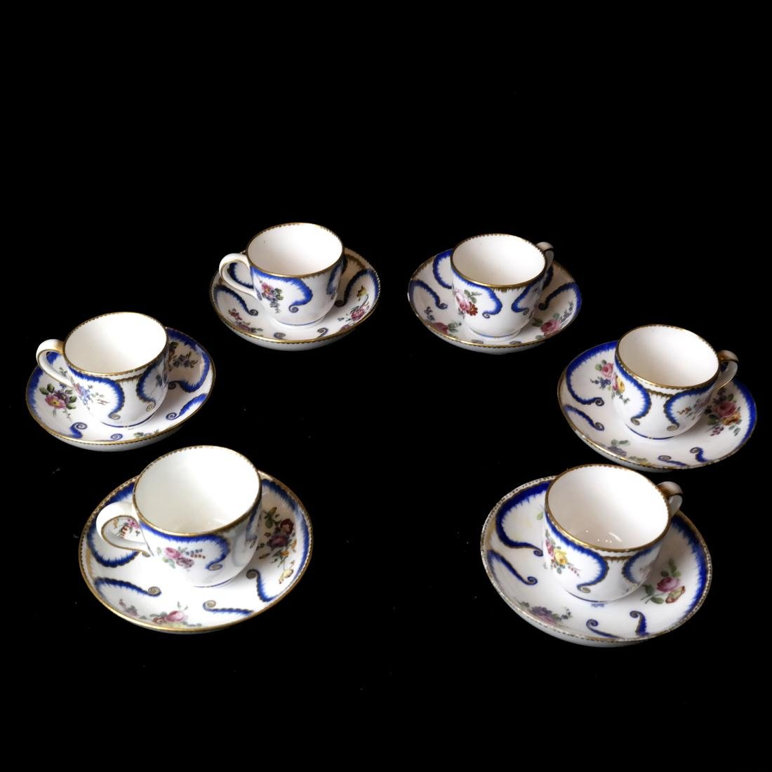 12-Piece Sevres Cups and Saucers