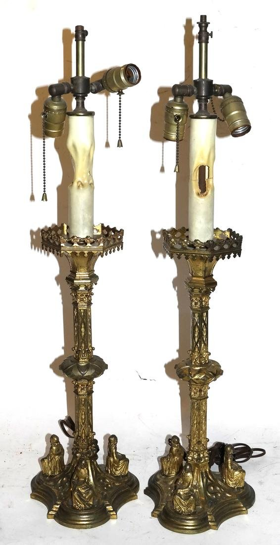 Pair of Gothic Figural Bronze Lamps