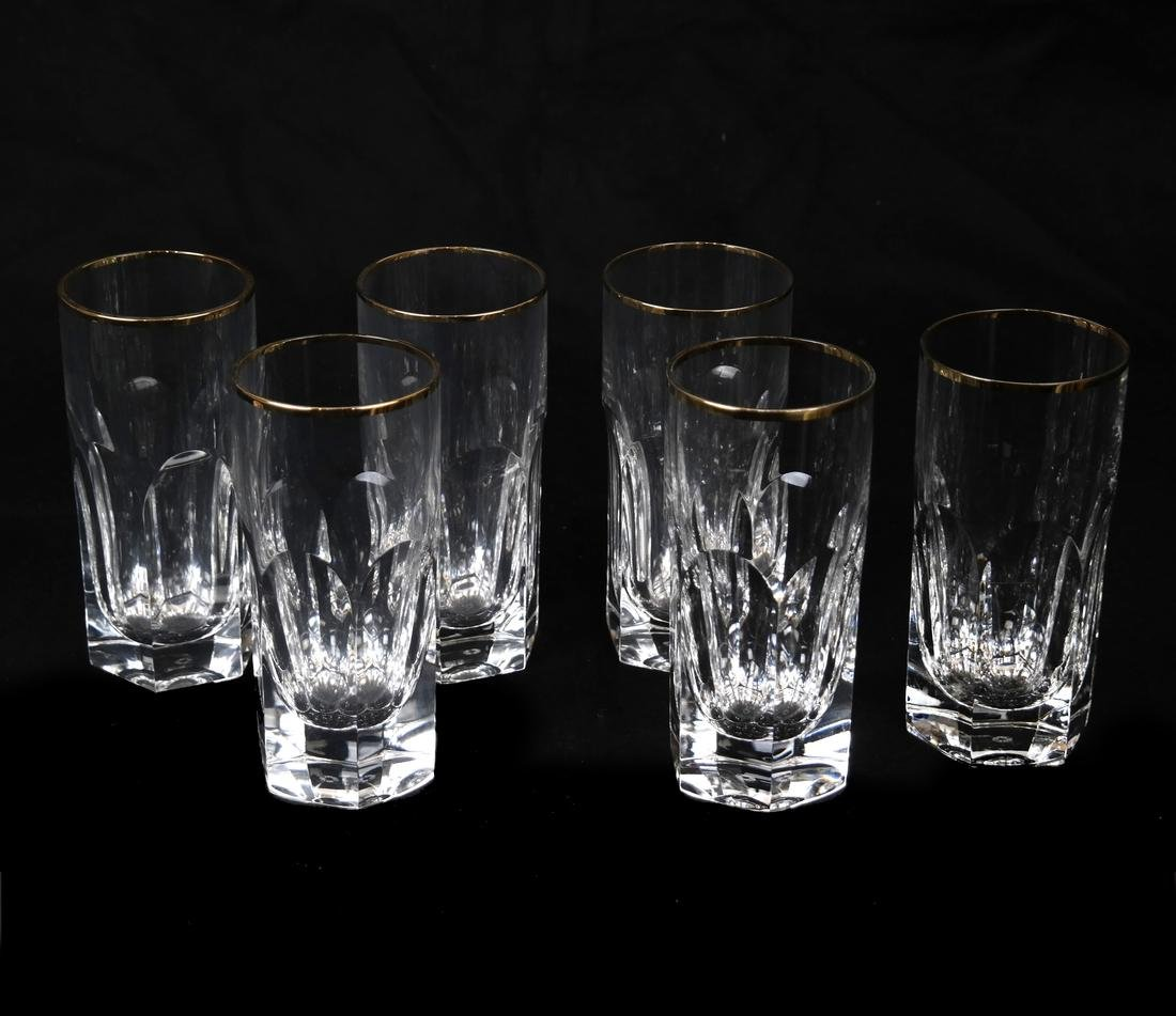 Six Fine Crystal Water Glasses