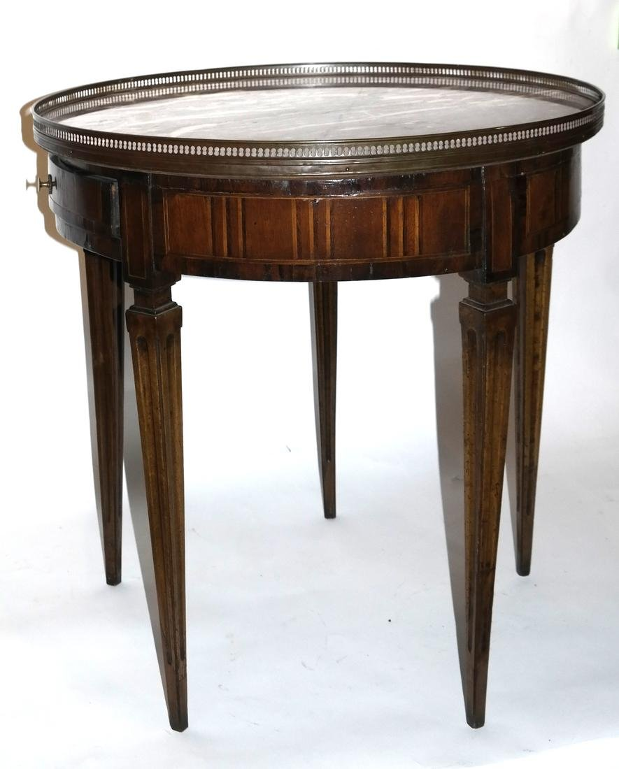 French Decorated Bouillotte Marble Top Table